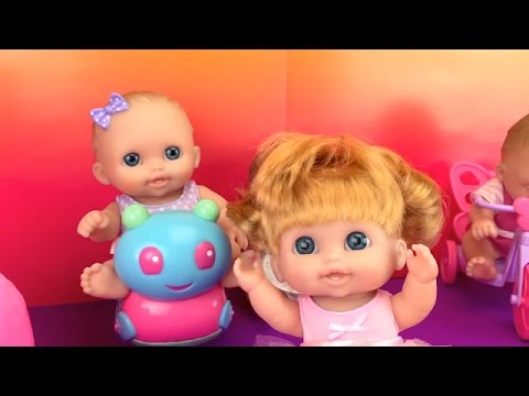 Triplets Lil Cutesies Baby Dolls Playing With Their Toys! Ballet Baby Doll With Hair Fun Factory