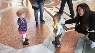 Two Babies Fall in Love in Milan Italy | Cutest Thing Ever! Hugs then Runs Away!