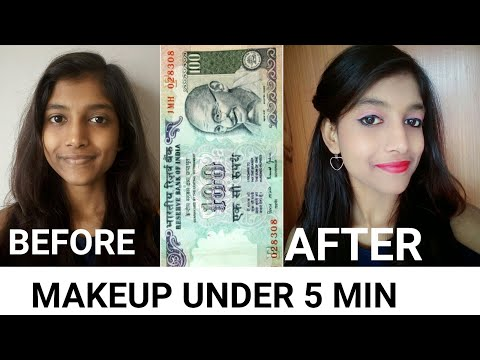 Rs 100 Makeup Under 5 Mins || Beginner Party Makeup Look
