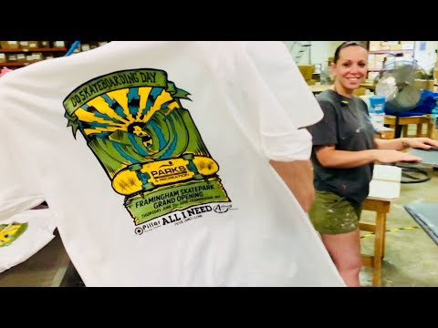 Screen printing AIN Go Skateboarding Day t-shirt