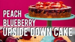 How To Make a PEACH BLUEBERRY UPSIDE DOWN CAKE! With fresh fruit and cinnamon!