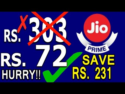 Reliance Jio Prime Membership Recharge Of Rs 303 Is Only In Rs 72 Jio Latest News[jio Offer] HURRY!!