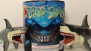 Sharks vs Land Shark Fireworks ( Shark Week Celebration ) Toy Freaks Love Shark Toys