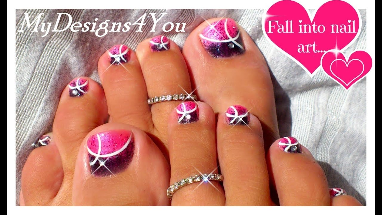 Toe Nail Designs Pink And White