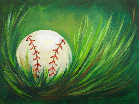 Acrylic Step by Step Painting Baseball in Grass Easy beginner Tutorial