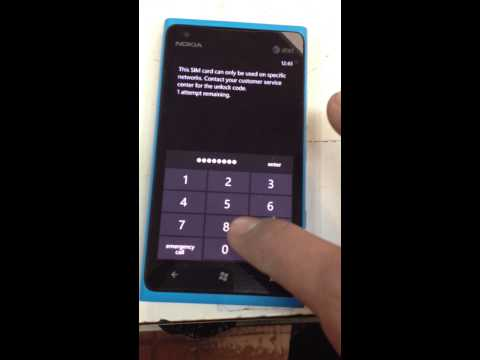 Nokia Lumia 900 Unlock - Incorrect Pin Error SOLVED!
