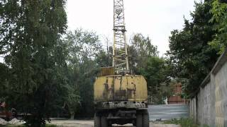 Old soviet wheel base crane KS-5363 active movin""