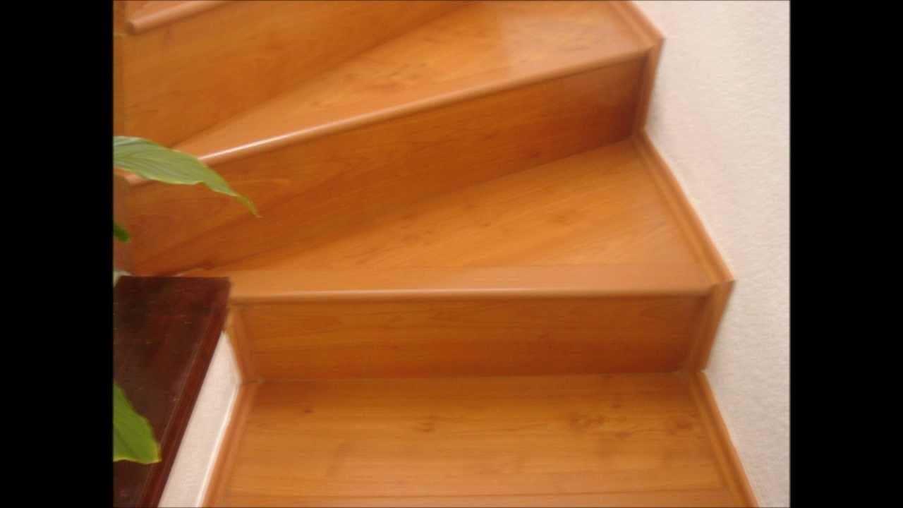 Piso laminado en escalera tekno step 7mm youtube for Pisos para escaleras de concreto