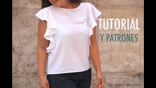 Como hacer blusa con volantes en 18 minutos (patrones)