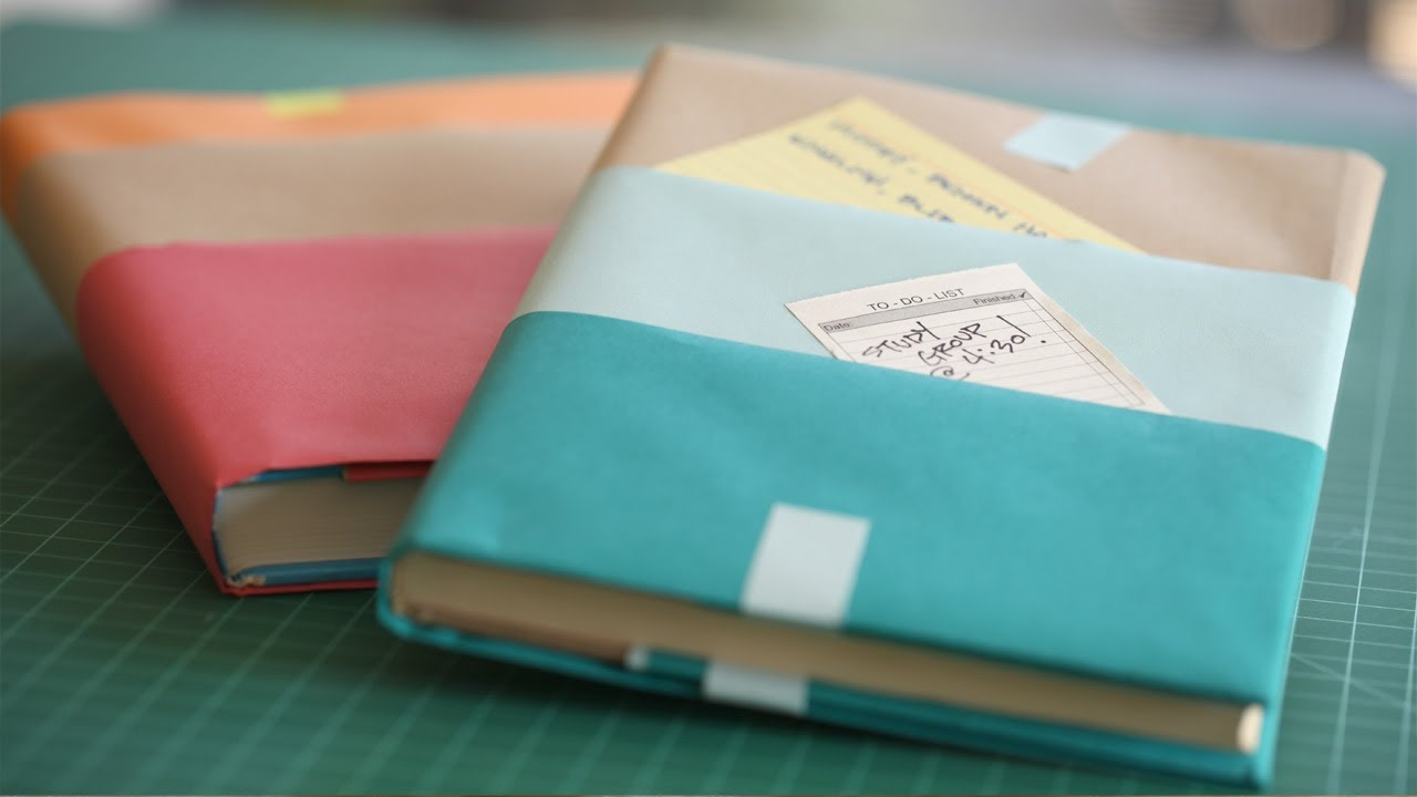 Paper Book Cover Diy : How to make textbook covers kin parents youtube