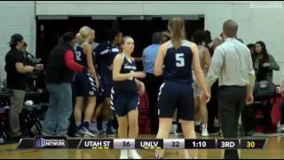 8 players ejected after fight breaks out at UNLV vs. Utah State women's basketball game.