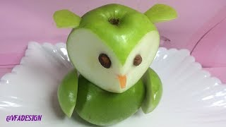 Green Apple Owl Sculpturing Tricks Show | Fun Food Art For Kids Cutting Idea