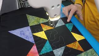 How to Quilt Stippling on a Scrappy Star Friendship Quilt Block