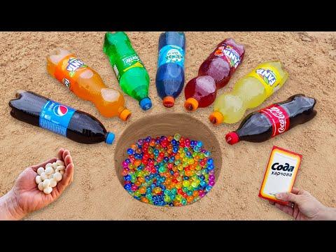 Experiment: Coca-Cola, Mirinda, Fanta, Sprite, Pepsi vs Mentos vs Orbeeze