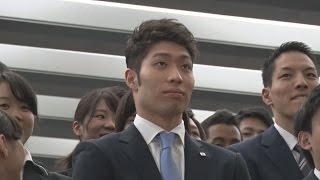 萩野選手が入社式に出席