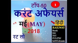 Current Affairs: MAY 2018 | Important Current Affairs 2018(Railway/SSC/BANK/Govt.Exam)