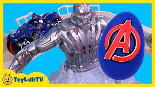 Hotwheels Avengers Tower Takeover Race Track & Play Doh Surprise Egg with Iron Man, Captain America