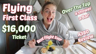 $16,000 First Class Seat | Emirates Airbus 380 Airplane Review + Showering On A Plane | Dubai to NYC