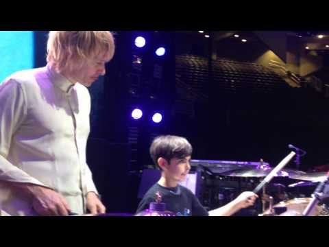 Hudson playing drums with Zak Starkey of The Who