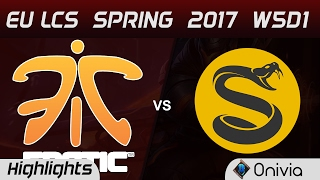 FNC vs SPY Highlights Game 1 EU LCS Spring 2017 W5D1 Fnatic vs Splyce