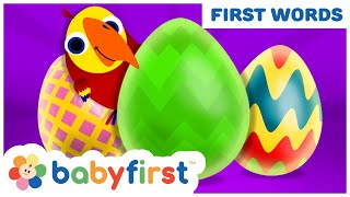 Surprise Eggs Animals Toys | Learn Vocabulary & Animal Sounds with Larry | New Episode | BabyFirst