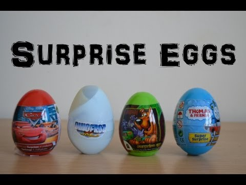 Surprise Eggs Disney Cars 2 Thomas and Friends Dinosaur World Scooby Doo Unwrapping