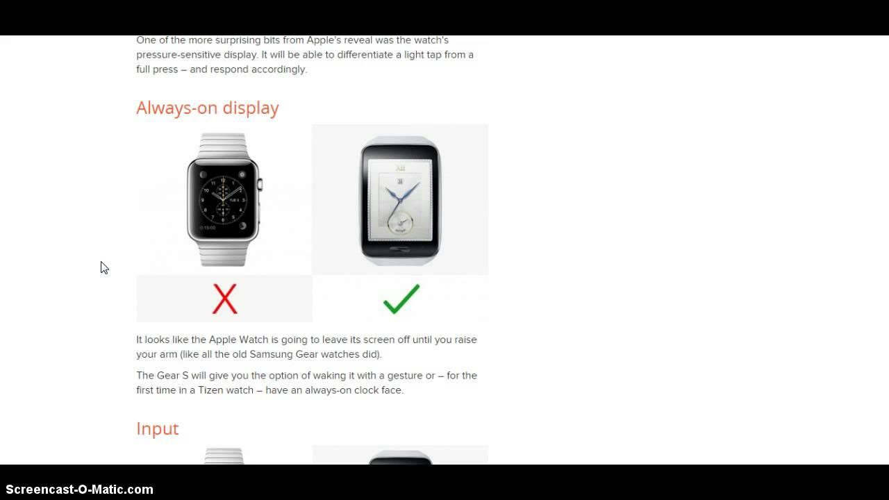 Gear Watch vs Apple Watch Apple Watch vs Galaxy Gear s