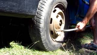 Automotive Telescopic Wheel-Wrench at work