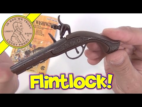 George Washington Flintlock Dueling Pistol Cap Gun - 6 Die Cast Toy Gun Collection