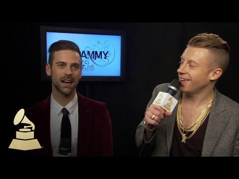 Macklemore & Ryan Lewis Backstage at the 56th GRAMMY Award Nominations Concert | GRAMMYs