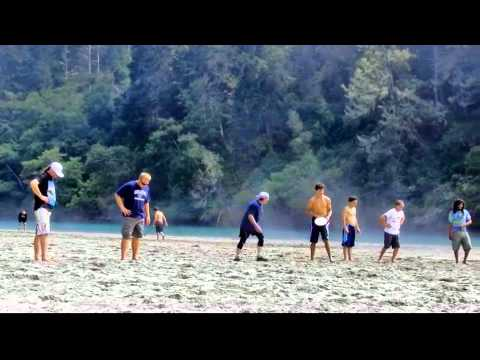 Ultimate Frisbee on Big River Beach - Mendocino California