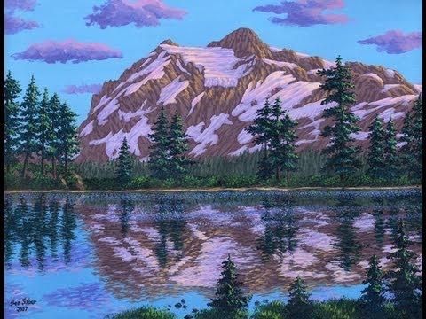 Видео 5 части 5, как рисовать горы и озеро с акрилом