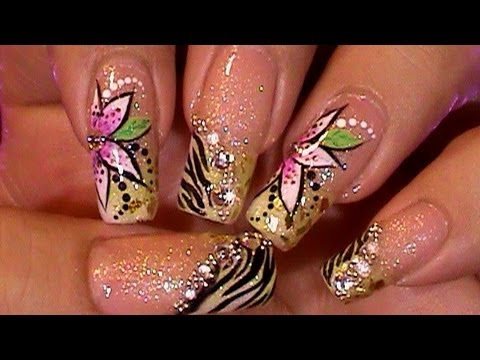 Glitzy Animal Print Zebra Nail Art Design Tutorial Working on Dominant