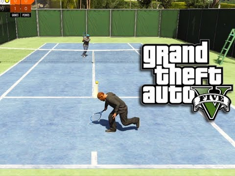GTA 5 Online - Playing Tennis with Deluxe 4! (GTA Online Tennis)