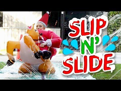 WET SANTA SLIP N SLIDE (Squad Vlogs)