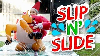 INSANE SANTA SLIP N SLIDE (Squad Vlogs)