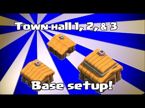 Lets play Clash of clans - Town hall 1. 2 & 3 Base layouts (speed build)