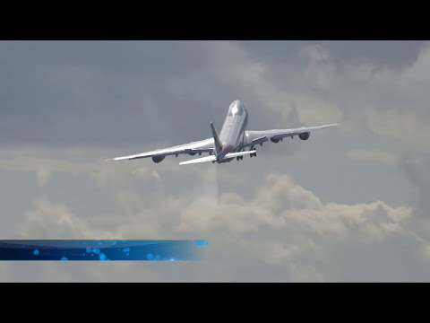Cargolux 747-8 freighter (CLX789) delivery- crazy take off and wings swing-bye