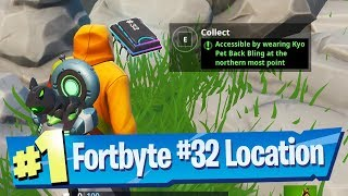 Fortnite Fortbyte #32 Location - Accessible by wearing Kyo Pet Back Bling at the northern most point