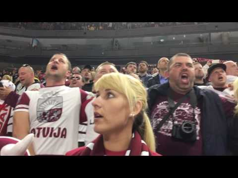 Latvia - Denmark 3:0, national anthem performed by Latvian fans