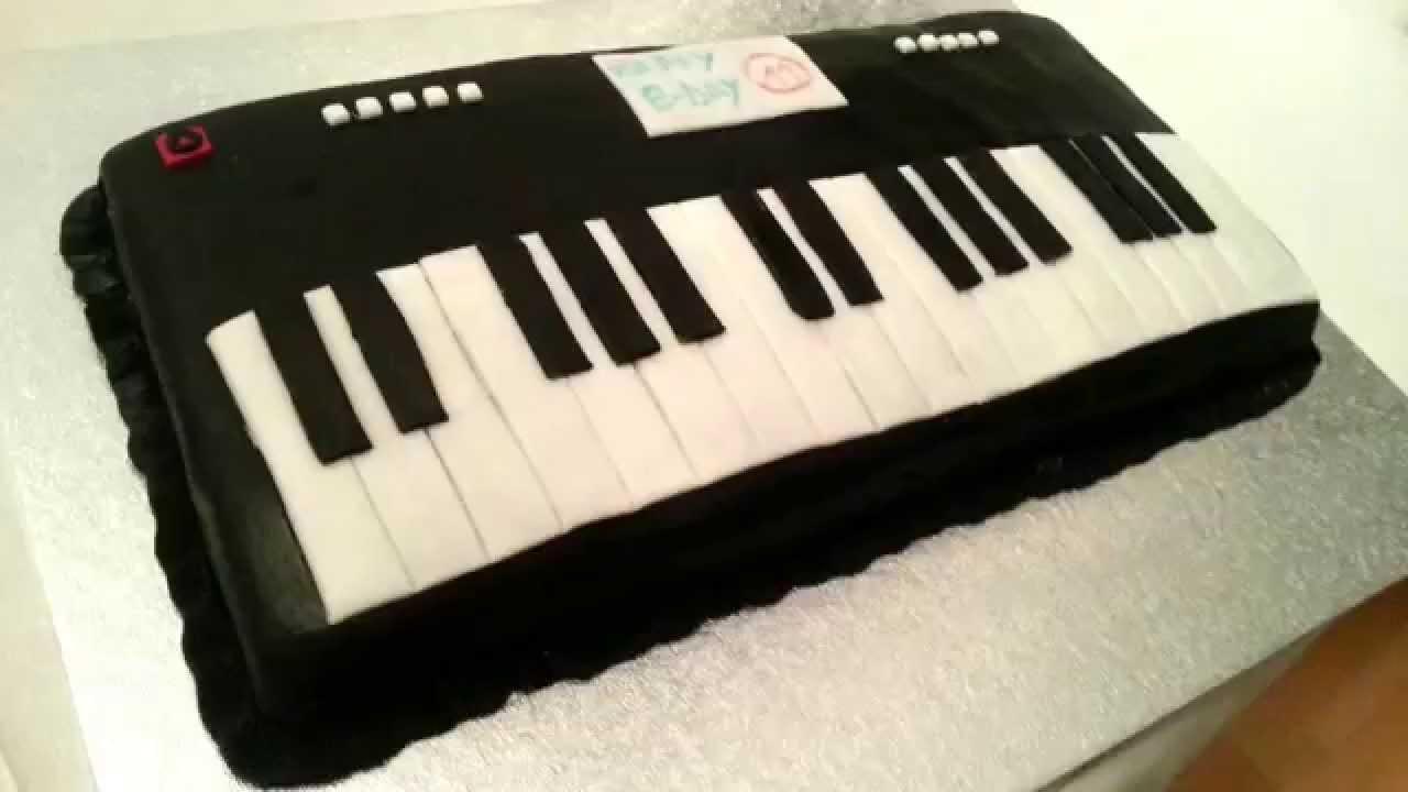 Keyboard piano fondant cake - YouTube
