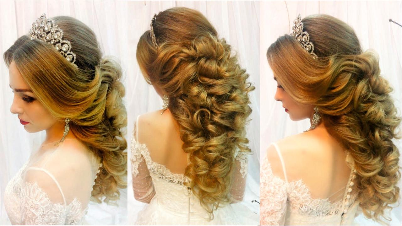 Свадебная прическа на длинные волосы с челкой пошагово