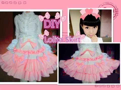Kawaii DIY - How to Make A Sweet Lolita Skirt (no elastic band and zipper method)