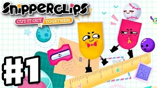 Snipperclips - Gameplay Walkthrough Part 1 - Noisy Notebook! Cut It Out, Together! (Nintendo Switch)