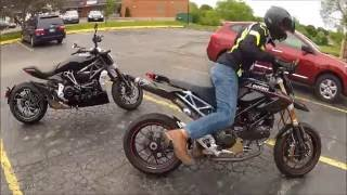 2016 XDiavel S and 2009 Hypermotard 1100 S MotoVas Review Riding To Lunch Chicago Termignoni Termi