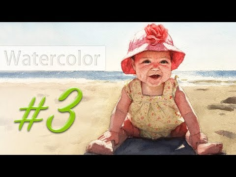Portrait of a baby girl - watercolor painting step by step #3