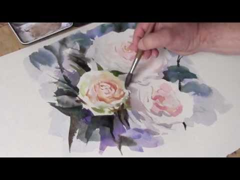 How to paint watercolour white roses by trevor waugh youtube for How to paint a rose in watercolour