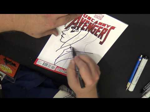 Adam Hughes drawing Scarlet Witch