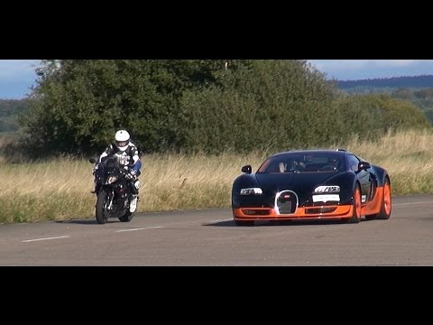 Ultra HD 4K Rolling RACE BMW S1000RR vs Bugatti Veyron Vitesse -presented by Samsung