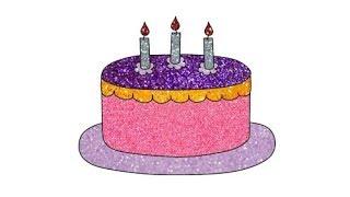 Vẽ và tô màu bánh sinh nhật kim tuyến | Làm thế nào để vẽ và tô màu bánh sinh nhật | Bé học vẽ